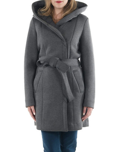 Laundry By Shelli Segal Essential Neoprene Wrap Coat-CHARCOAL-X-Small