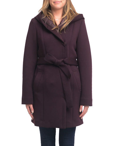 Laundry By Shelli Segal Essential Neoprene Wrap Coat-WINE-Large