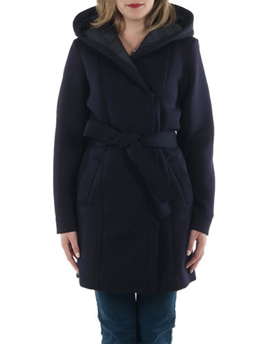 Laundry By Shelli Segal Essential Neoprene Wrap Coat-NAVY-Small