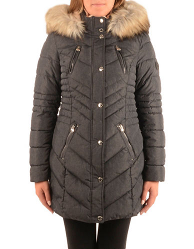 Laundry By Shelli Segal Faux Fur Trim Insulated Parka-CHARCOAL-Small
