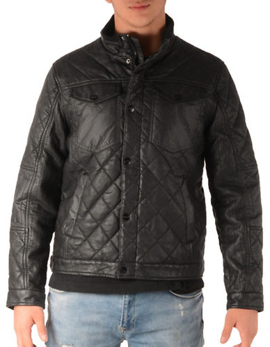 Perry Ellis Stretch Bomber Jacket-BLACK-X-Large