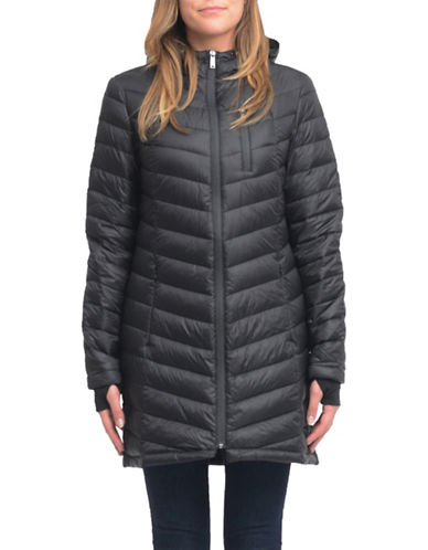 London Fog Thumb Hole Down Coat-BLACK-X-Large