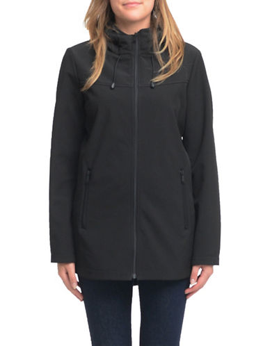 London Fog Hooded Softshell Jacket-BLACK-Large