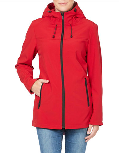 London Fog Hooded Softshell Jacket-RED-Large