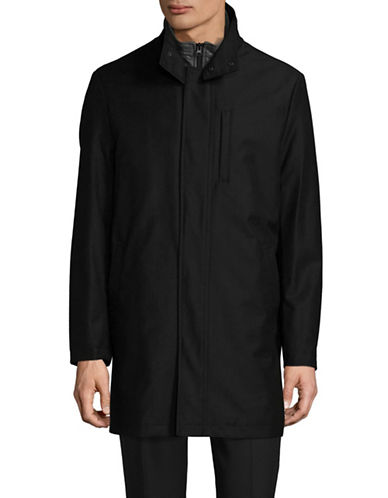 London Fog Raincoat with Quilted Bib-BLACK-48