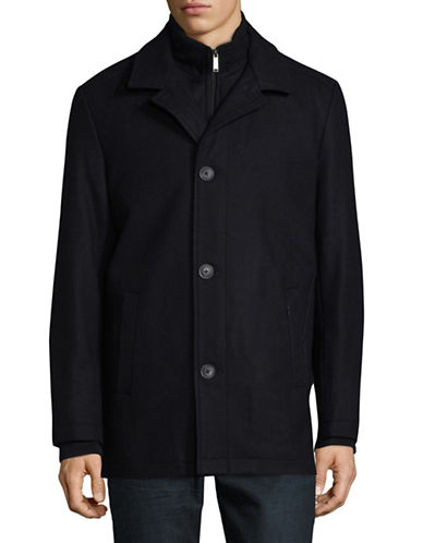 London Fog Notch Collar Essential Coat-NAVY-Small