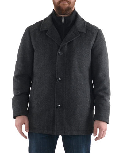 London Fog Herringbone Essential Coat-GREY-Small