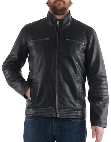 Buffalo David Bitton Polyurethane Leather Jacket-BLACK-Large 89334951_BLACK_Large