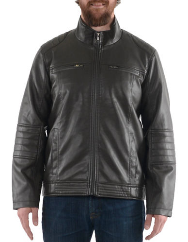 Buffalo David Bitton Polyurethane Leather Jacket-BROWN-X-Large