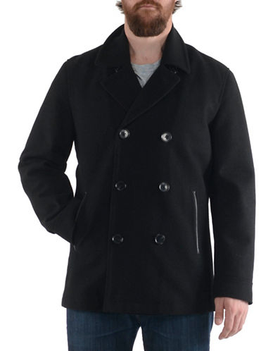 London Fog Laminated Wool-Blend Peacoat-BLACK-Small