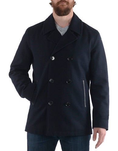 London Fog Laminated Wool-Blend Peacoat-NAVY-X-Large