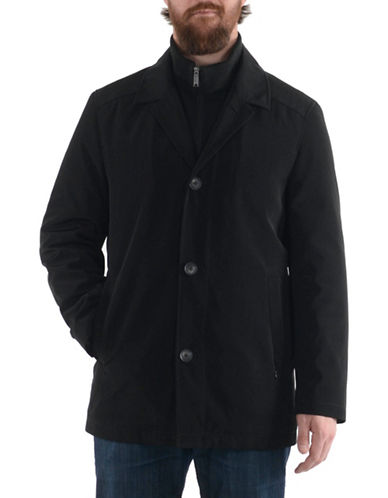 London Fog Bonded Raincoat-BLACK-Medium