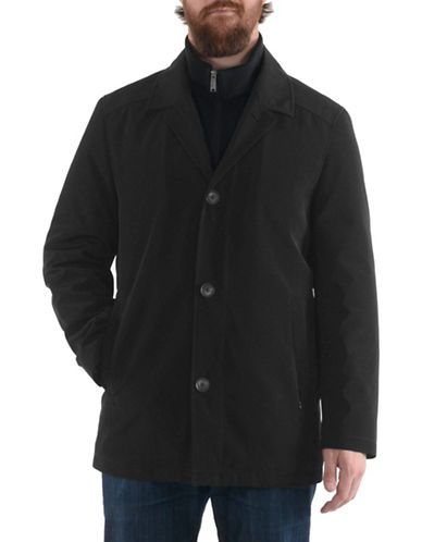London Fog Bonded Raincoat-CHARCOAL-Medium