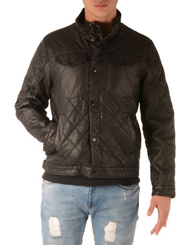 Perry Ellis Quilted Stretch Puffer Jacket-BLACK-X-Large