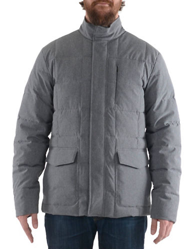 Perry Ellis Quilted Heather Stretch Jacket-GREY-X-Large
