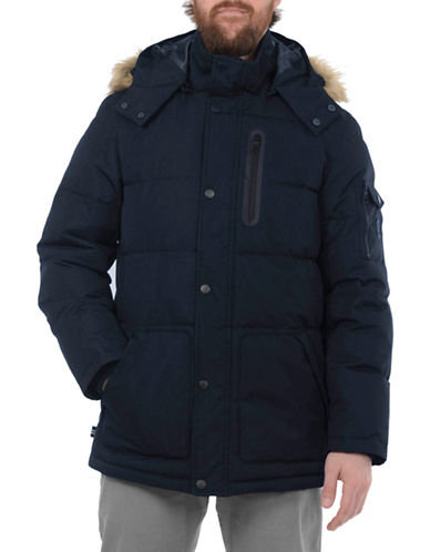 Nautica Taslon Thermatec Faux Fur-Trimmed Puffer Jacket-NAVY-X-Large