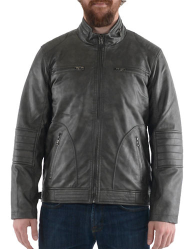 Buffalo David Bitton Faux Leather Bomber Jacket-GREY-Medium