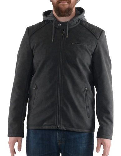 Buffalo David Bitton Hooded Faux Leather Jacket-CHARCOAL-Medium