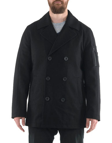 Buffalo David Bitton Wool Melton Peacoat-BLACK-X-Large
