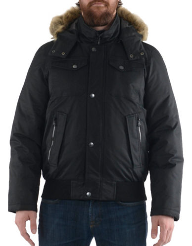 Buffalo David Bitton Thermatec Faux Fur Hood Puffer-BLACK-Large