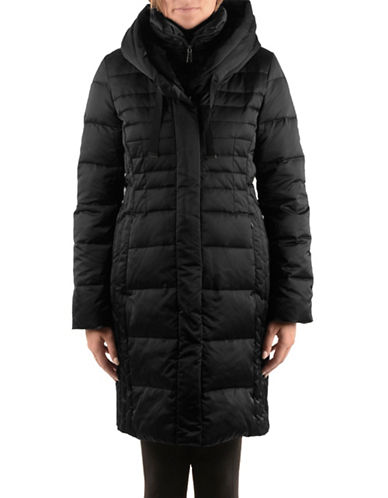 T Tahari Long-Sleeve Zip-Front Puffer Coat-BLACK-Small