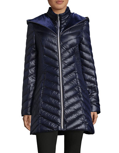 Laundry By Shelli Segal Quilted Puffer Jacket-MYSTIC BLUE-X-Large