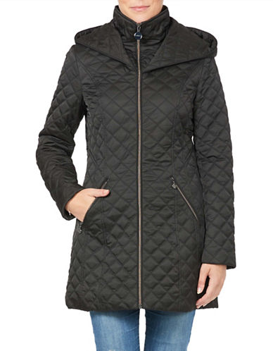 Laundry By Shelli Segal Quilted Jacket with Wrap Around Hood-BLACK-Large