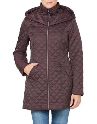 Laundry By Shelli Segal Quilted Jacket with Wrap Around Hood-CLARET-Small