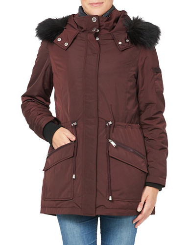 London Fog Essential Two-Piece Faux Fur Trimmed Jacket and Down Filled Vest-RED-Large