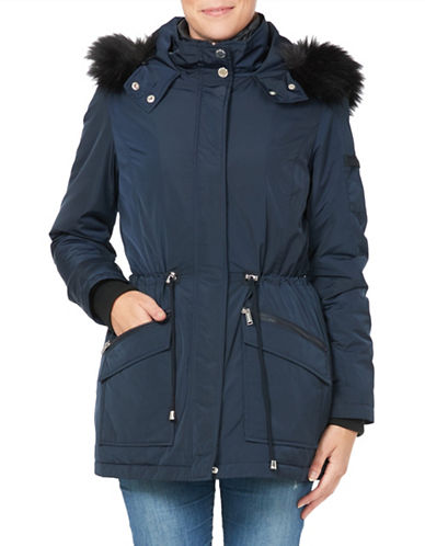 London Fog Essential Two-Piece Faux Fur Trimmed Jacket and Down Filled Vest-NAVY-Medium