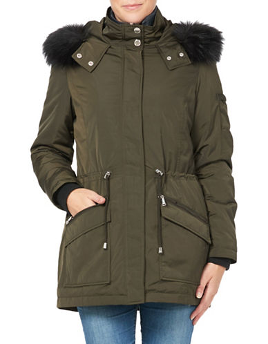 London Fog Essential Two-Piece Faux Fur Trimmed Jacket and Down Filled Vest-OLIVE-Small