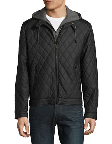Buffalo David Bitton Quilted Faux Leather Jacket-BLACK-Small