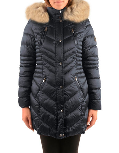 Laundry By Shelli Segal Faux Fur-Trimmed Chevron Parka-NAVY-Large