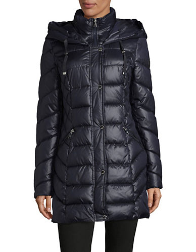 Laundry By Shelli Segal Long Puffer Jacket-MYSTIC BLU-Small