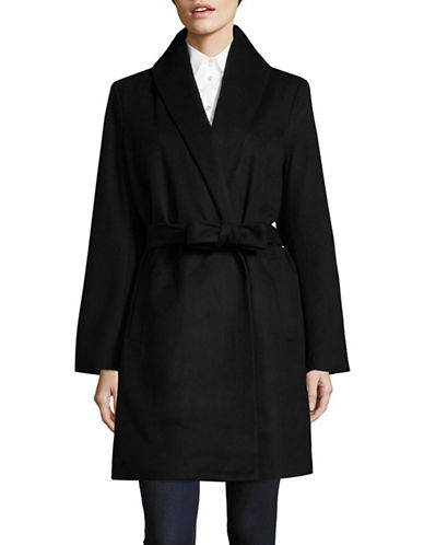 T Tahari Wrap Overcoat-BLACK-Medium