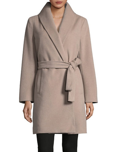 T Tahari Wrap Overcoat-BROWN-Small