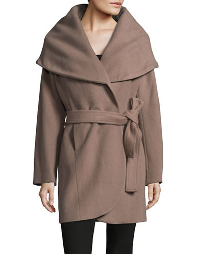 T Tahari Turn-Down Collar Belted Wrap Coat-MINK-Small