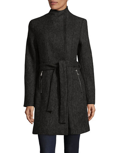 T Tahari Textured Wrap Overcoat-BLK COMBO-X-Large