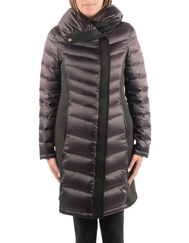 T Tahari Neoprene Mixed Media Down Jacket-DARK PLUM-Medium