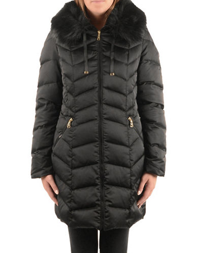 T Tahari Down Jacket with Faux Fur Collar-BLACK-X-Large