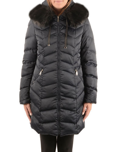 T Tahari Down Jacket with Faux Fur Collar-GALAXY-Small