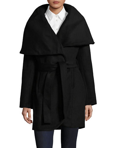 T Tahari Turn-Down Collar Belted Wrap Coat-BLACK-Small
