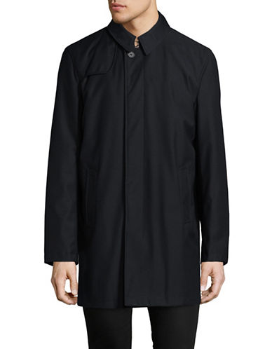 London Fog Classic Duster Rain Jacket-NAVY-40 Regular
