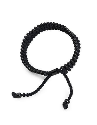 Vitaly Diario Silvertone Beaded Bracelet-BLACK-8