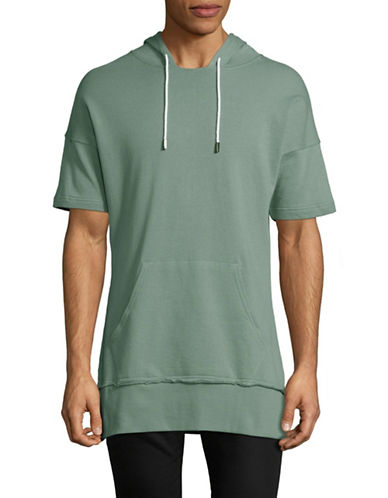 Vitaly Short Sleeve Cotton Hoodie-GREY-Medium