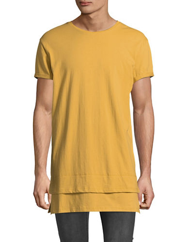 Vitaly Layered Cotton Tee-YELLOW-X-Large