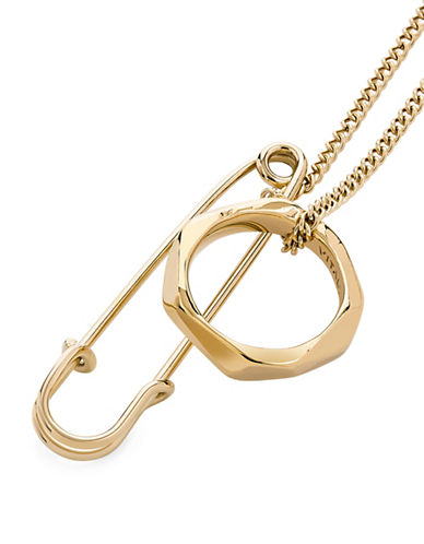 Vitaly Bootleg Stainless Steel Pendant Necklace-GOLD-One Size