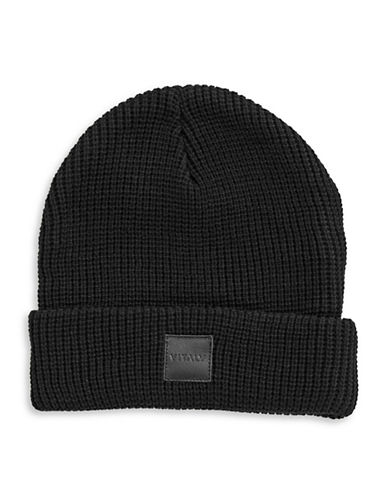 Vitaly Patched Cotton Beanie-BLACK-One Size