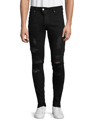 Vitaly Distressed Zip-Hem Skinny Jeans-BLACK-30