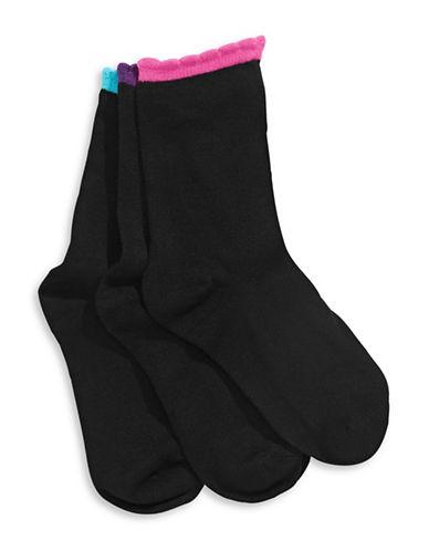 Jack & Jill Three-Pack Scalloped Crew Socks-BLACK-Medium/Large